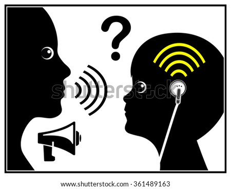 Child with Hearing Loss. Concept sign of the generation deaf due to ear buds and loud music - stock photo