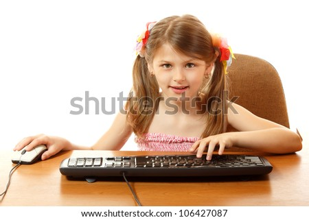 child with internet dependence with keyboard looking at camera like in monitor, girl 8 year old, isolated on white - stock photo