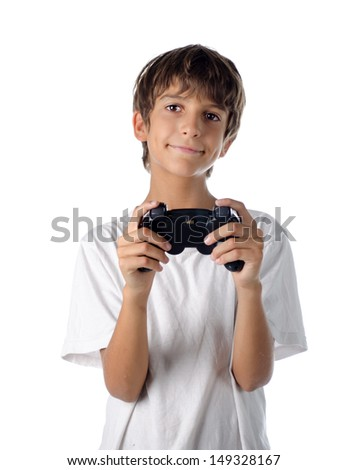child with joystick playing videogames isolated on white - stock photo