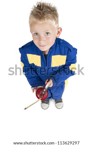 child with oil pipette in coverall on white - stock photo