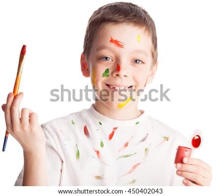 Child with paintbrush. Boy paint isolated on white - stock photo