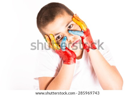 Child with painted hands - stock photo