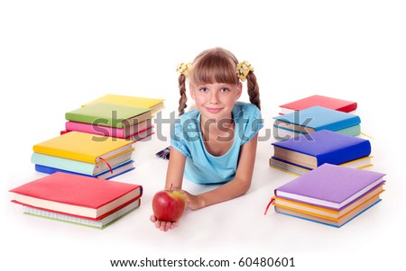 Child with pile of books  reading on floor. Isolated. - stock photo