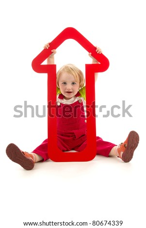 Child with red dart, conception business, on white background. - stock photo