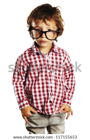 Child with rimmed glasses and hands in pockets. Portrait of child with plaid shirt isolated on white - stock photo
