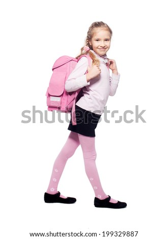 Child with schoolbag. Girl with school bag isolated on white - stock photo