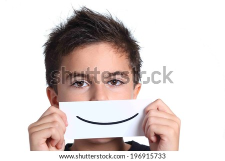 child with smile card - stock photo