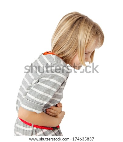 child with stomach ache - stock photo