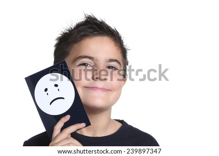 child with unhappy card - stock photo