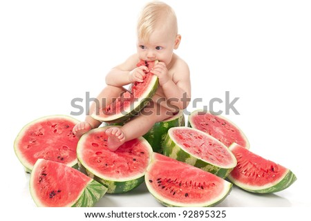 Child with watermelon - stock photo
