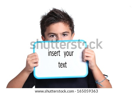 child with white chalkboard - stock photo