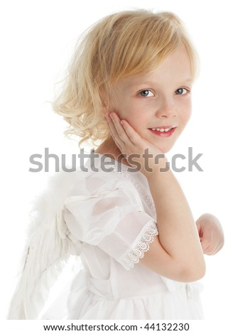 Child with wings of an angel - stock photo