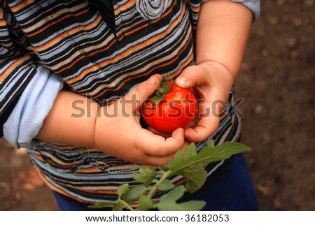 Child working in the garden - stock photo