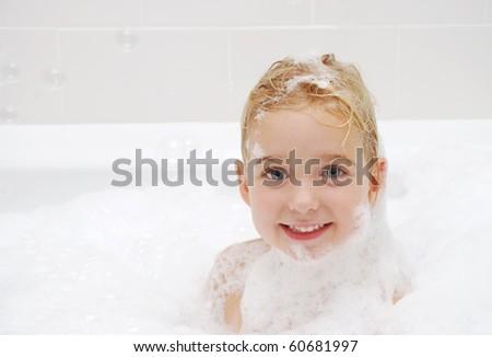childhood bath - stock photo
