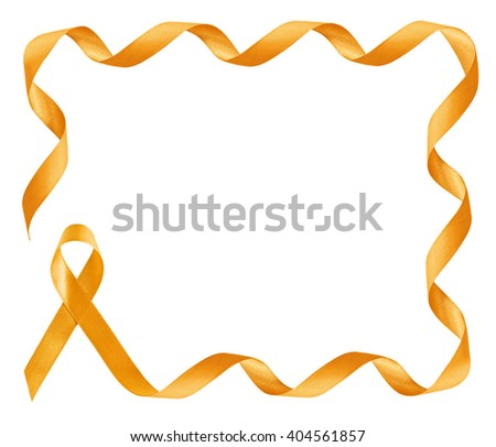 Childhood Cancer Awareness golden Ribbon frame with copy space - stock photo