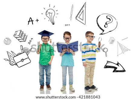 childhood, education, knowledge and people concept - happy little children in eyeglasses with book, magnifying glass and mortar board over school doodles - stock photo
