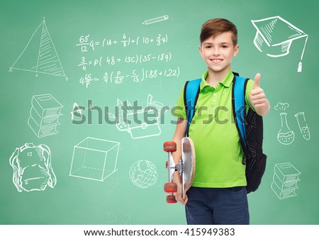 childhood, gesture, education and people concept - happy smiling student boy with backpack and skateboard showing thumbs up over doodles on green chalk board background - stock photo