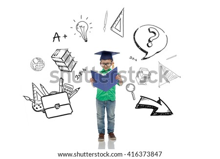 childhood, school, education, learning and people concept - happy boy in bachelor hat or mortarboard and eyeglasses reading book with doodles - stock photo