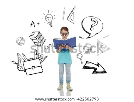 childhood, school, education, learning and people concept - happy little girl in eyeglasses reading book with doodles - stock photo