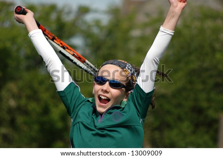 childing winning tennis game - stock photo