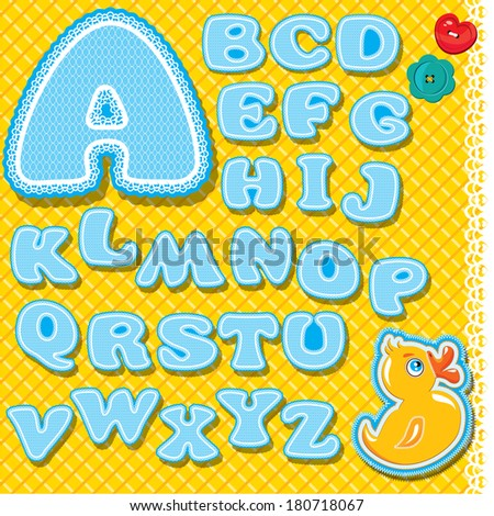 Childish alphabet - letters are made of blue lace and ribbons on checkered yellow background - version for baby boy. Raster version - stock photo