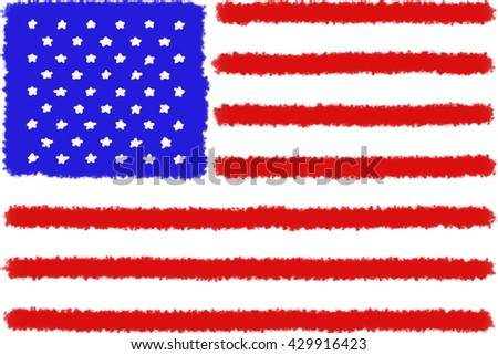 Childish brush drawing colorful american stripes and stars blue red and white flag - stock photo
