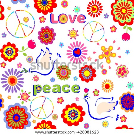 Childish wallpaper with hippie symbolic, colorful abstract flowers and doves - stock photo