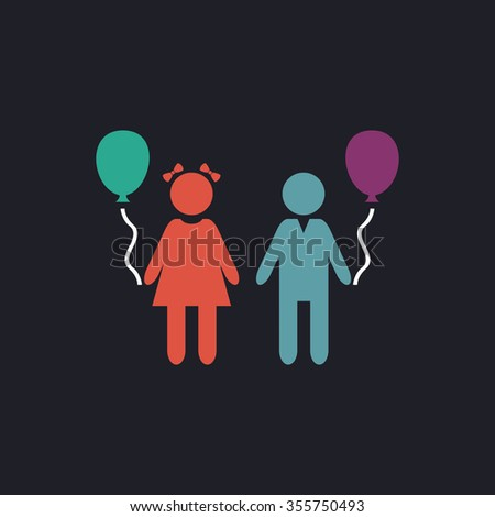 Children and Balloon. Color flat icon on black background - stock photo