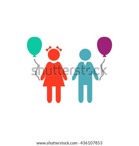 Children and Balloon. Color simple flat icon on white background - stock photo