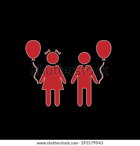 Children and Balloon. flat symbol pictogram on black background. red simple icon with white stroke - stock photo