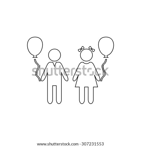 Children and Balloon. Outline black simple symbol - stock photo