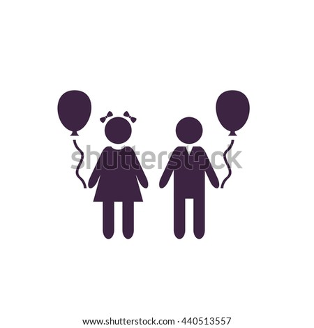 Children and Balloon. Simple blue icon on white background - stock photo