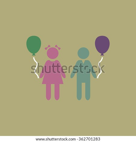Children and Balloon. Simple flat color icon on colorful background - stock photo