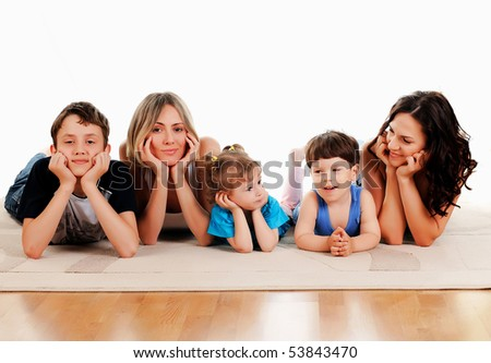 Children and parents have fun together - stock photo