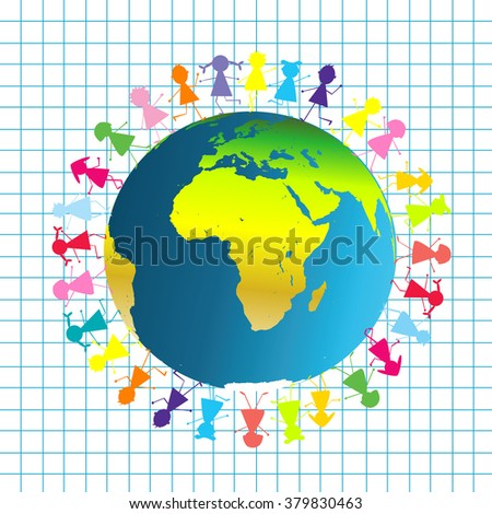 Children around planet Earth - stock photo