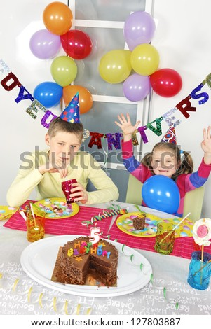 children at big funny birthday party - stock photo
