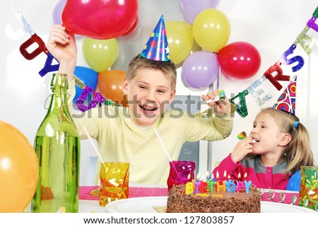 children at crazy birthday party - stock photo