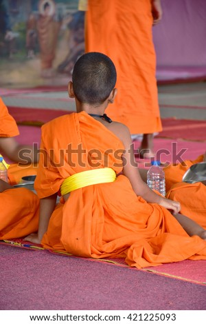 Children at some time be ordained to study theology.The trajectory of the local people in Thailand. - stock photo