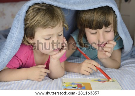 Children bonding together ion bad. - stock photo