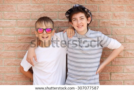 children boy friends - stock photo