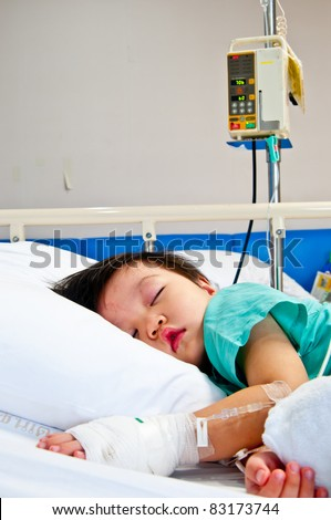 Children boy in hospital - stock photo