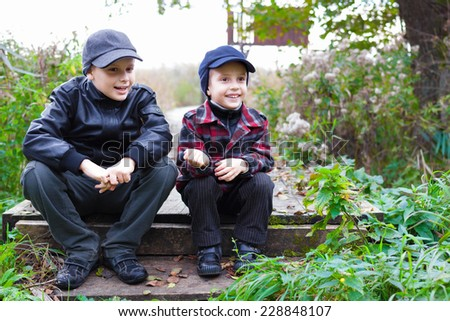 children brothers country fall happy smile  - stock photo