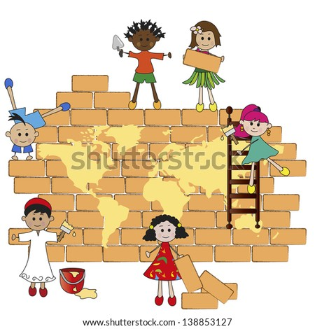 Children build the world on a wall - stock photo