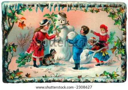Children building a snowman - an early 1900's vintage illustration - stock photo