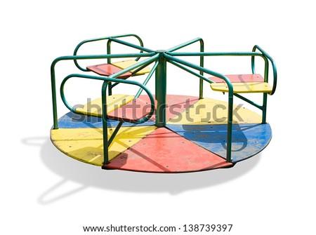 Children carousel isolated on white background. - stock photo