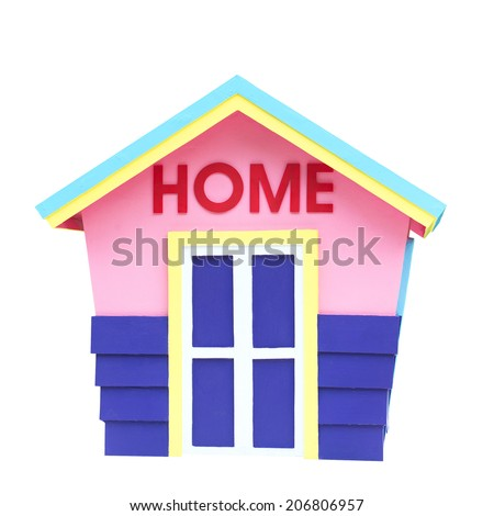 Children Cartoons Home Model in Playground construction architecture window project family building estate white isolated on white background with clipping path. - stock photo
