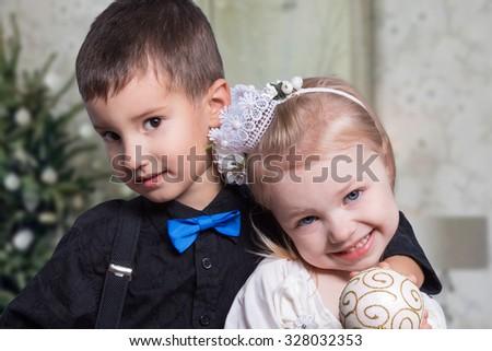 children. Christmas. gifts. joy. emotions - stock photo