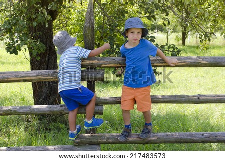Children climbing over wooden fence into a garden or orchard. - stock photo