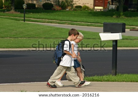 Children Coming Home From School - stock photo