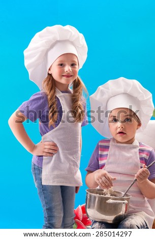 Children cook in a pan - stock photo